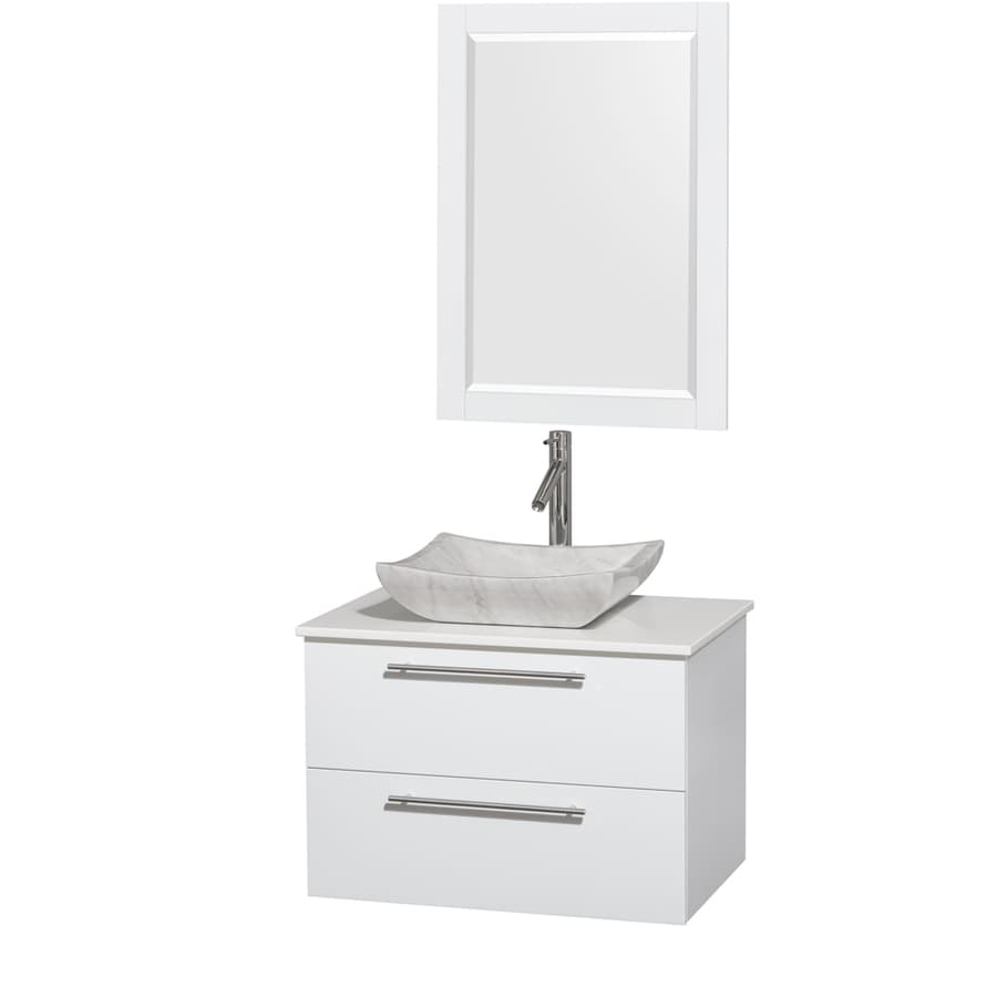 Wyndham Collection Amare Glossy White (Common: 30-in x 21-in) Vessel Single Sink Bathroom Vanity with Engineered Stone Top (Mirror Included) (Actual: 30-in x 20.5-in)
