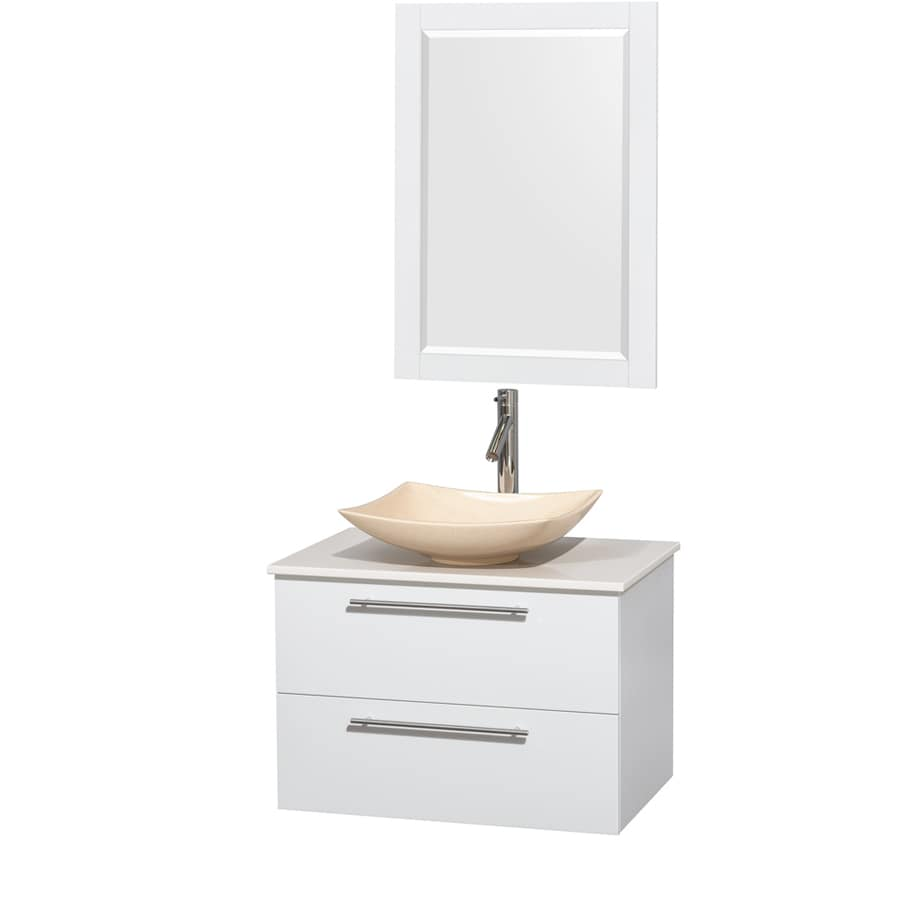 Wyndham Collection Amare Glossy White Single Vessel Sink Bathroom Vanity with Engineered Stone Top (Common: 30-in x 21-in; Actual: 30-in x 20.5-in)