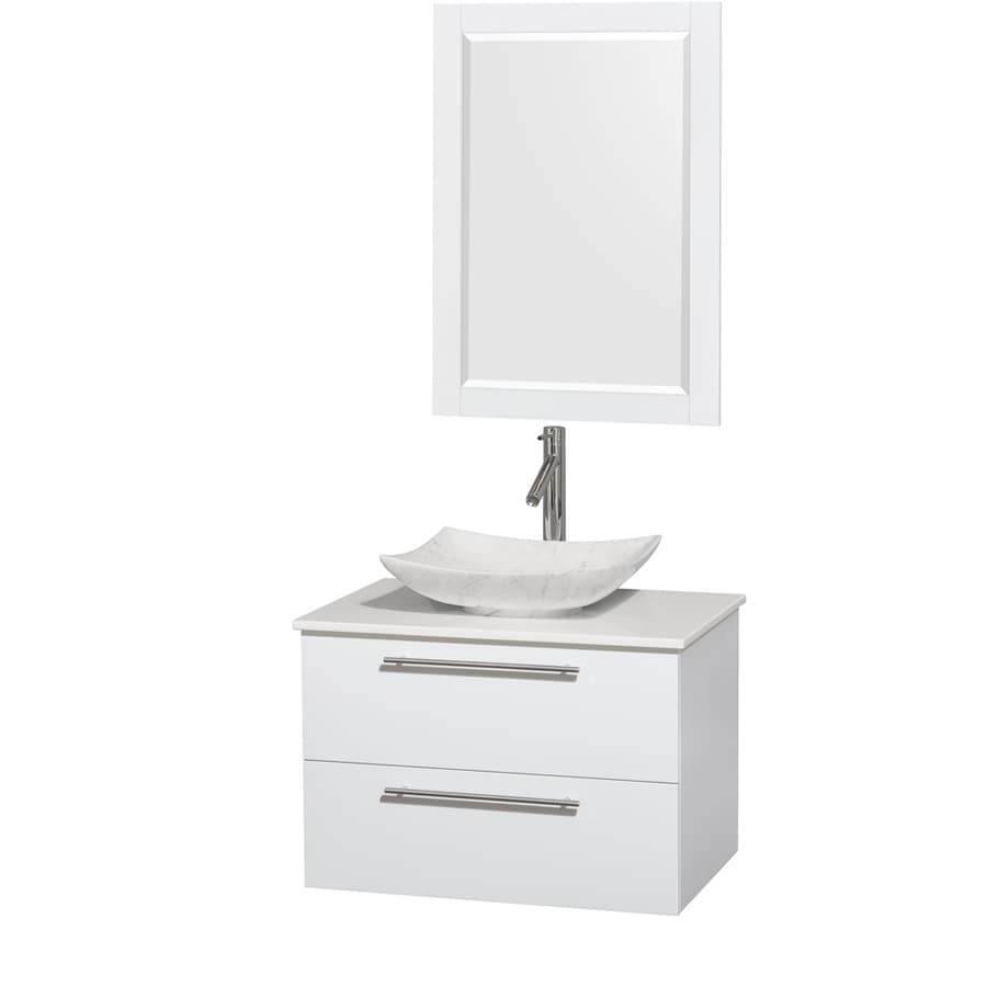 Wyndham Collection Amare Glossy White 30-in Vessel Single Sink Bathroom Vanity with Engineered Stone Top (Mirror Included)