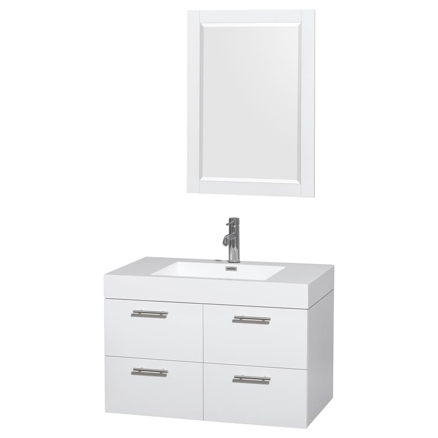 Wyndham Collection Amare White 35-in Integral Single Sink Bathroom Vanity with Solid Surface Top (Mirror Included)