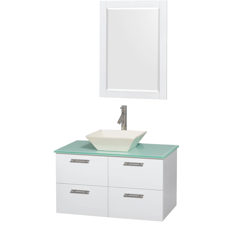 Wyndham Collection Amare Glossy White Single Vessel Sink Bathroom Vanity with Tempered Glass and Glass Top (Common: 36-in x 22-in; Actual: 36-in x 21.5-in)