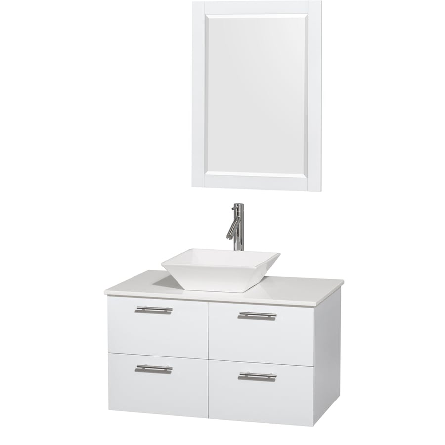 Wyndham Collection Amare Glossy White (Common: 36-in x 22-in) Vessel Single Sink Bathroom Vanity with Engineered Stone Top (Mirror Included) (Actual: 36-in x 21.5-in)