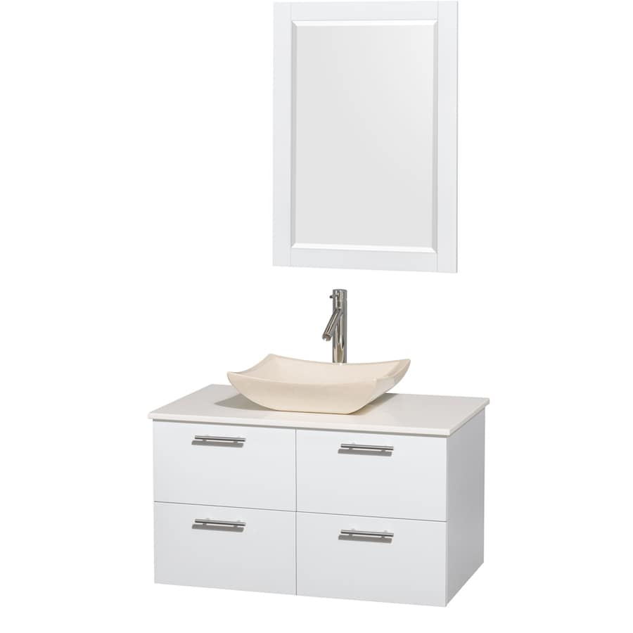 Wyndham Collection Amare Glossy White 36-in Vessel Single Sink Bathroom Vanity with Engineered Stone Top (Mirror Included)