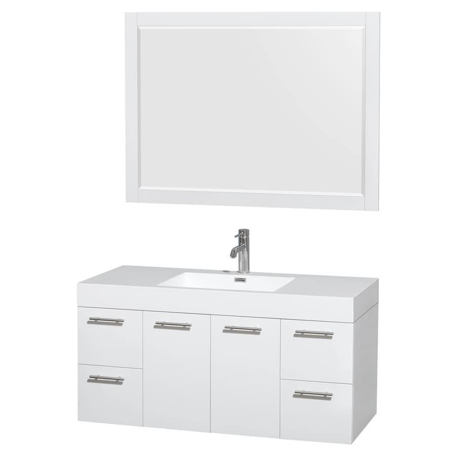 Wyndham Collection Amare White Integrated Single Sink Bathroom Vanity with Engineered Stone Top (Common: 47-in x 21-in; Actual: 47-in x 21-in)