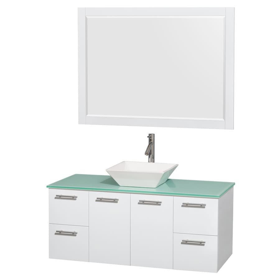 Wyndham Collection Amare White (Common: 48-in x 22-in) Vessel Single Sink Bathroom Vanity with Tempered Glass and Glass Top (Mirror Included) (Actual: 48-in x 21.75-in)