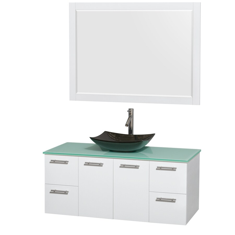 Wyndham Collection Amare Glossy White (Common: 48-in x 22-in) Vessel Single Sink Bathroom Vanity with Tempered Glass and Glass Top (Mirror Included) (Actual: 48-in x 21.75-in)