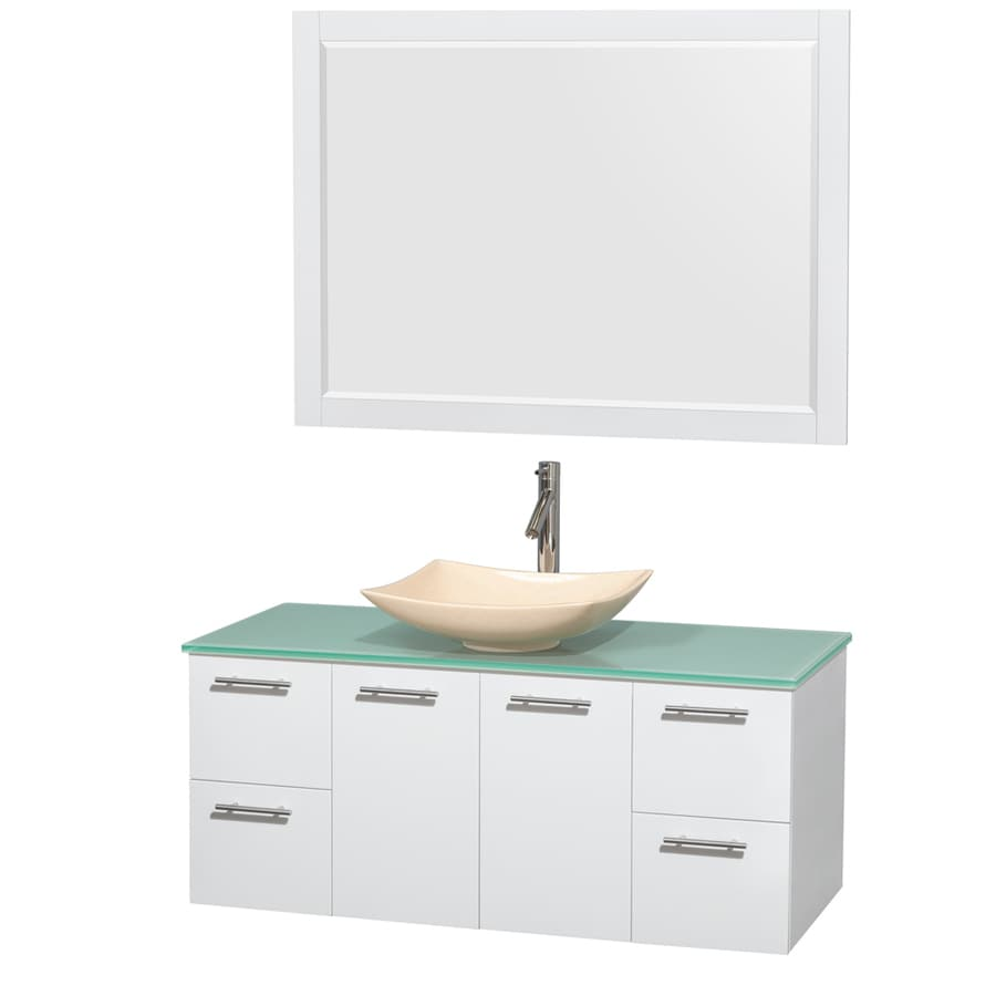 Wyndham Collection Amare Glossy White 48-in Vessel Single Sink Bathroom Vanity with Tempered Glass and Glass Top (Mirror Included)
