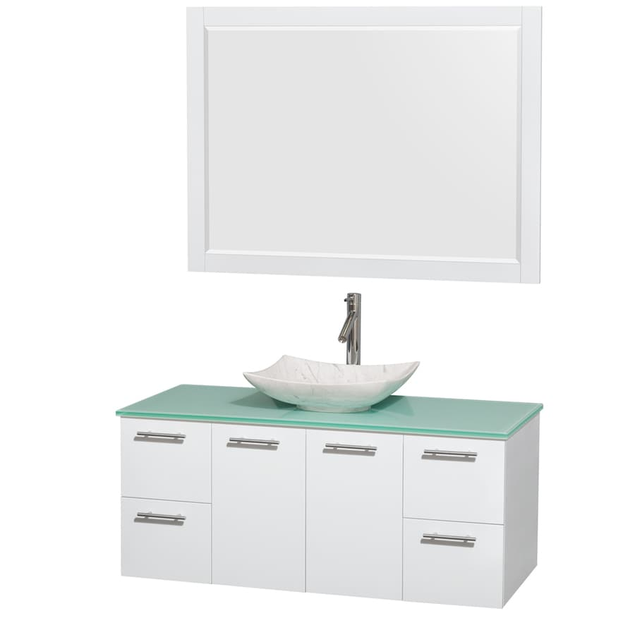 Wyndham Collection Amare Glossy White Single Vessel Sink Bathroom Vanity with Tempered Glass and Glass Top (Common: 48-in x 22-in; Actual: 48-in x 21.75-in)
