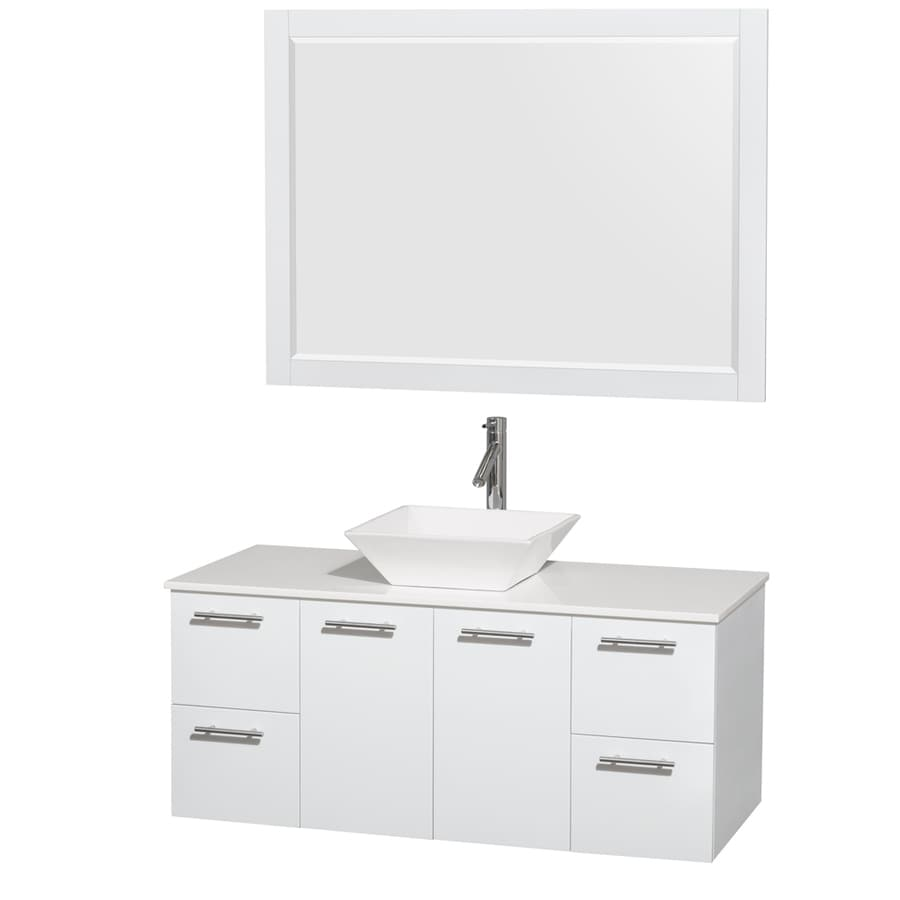 Wyndham Collection Amare Glossy White Single Vessel Sink Bathroom Vanity with Engineered Stone Top (Common: 48-in x 22-in; Actual: 48-in x 21.75-in)