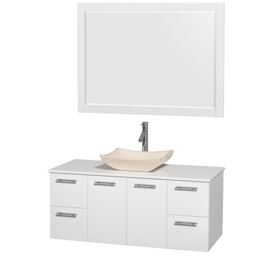 Wyndham Collection Amare Glossy White 48-in Vessel Single Sink Bathroom Vanity with Engineered Stone Top (Mirror Included)