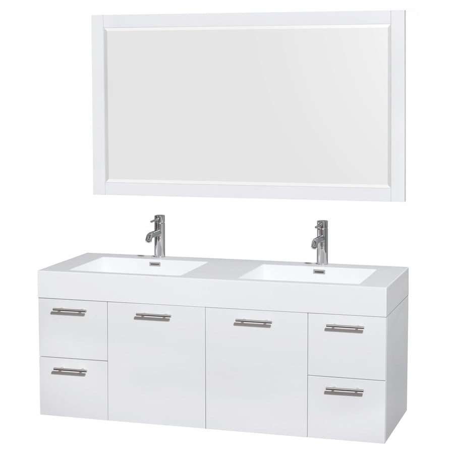 Wyndham Collection Amare White 60-in Integral Double Sink Bathroom Vanity with Engineered Stone Top (Mirror Included)