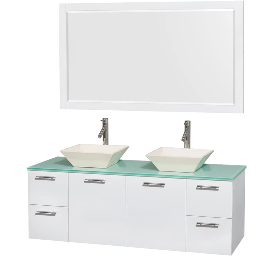 Wyndham Collection Amare Glossy White Double Vessel Sink Bathroom Vanity with Tempered Glass and Glass Top (Common: 60-in x 22-in; Actual: 60-in x 22.25-in)