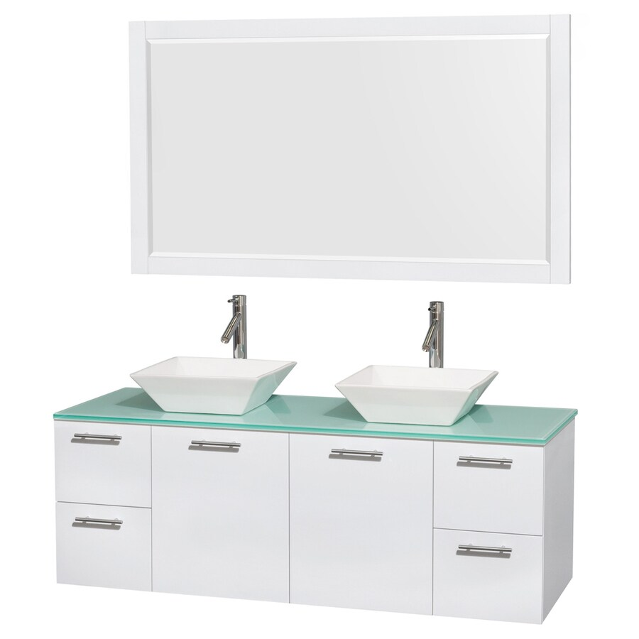 Wyndham Collection Amare White Double Vessel Sink Bathroom Vanity with Tempered Glass and Glass Top (Common: 60-in x 23-in; Actual: 60-in x 22.25-in)