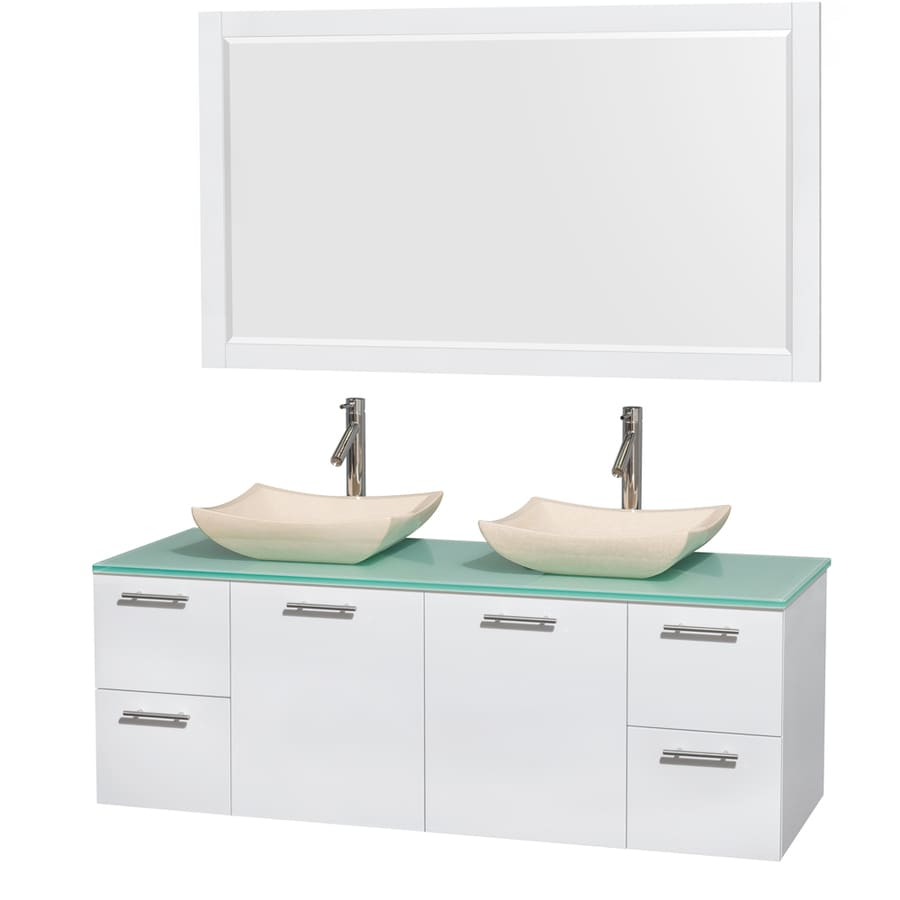 Wyndham Collection Amare Glossy White (Common: 60-in x 22-in) Vessel Double Sink Bathroom Vanity with Tempered Glass and Glass Top (Mirror Included) (Actual: 60-in x 22.25-in)