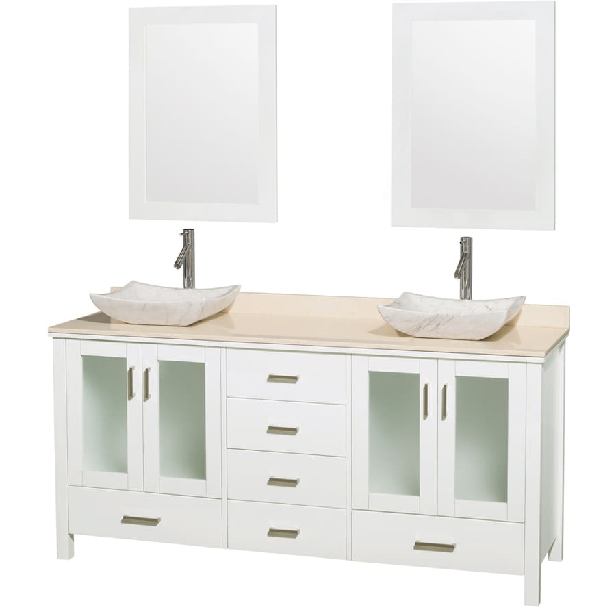 Wyndham Collection Lucy White 72-in Vessel Double Sink Oak Bathroom Vanity with Natural Marble Top (Mirror Included)