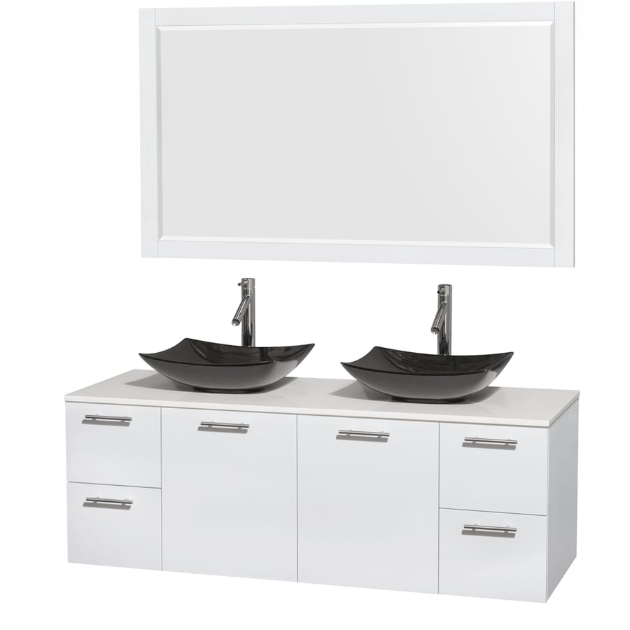 Wyndham Collection Amare Glossy White (Common: 60-in x 22-in) Vessel Double Sink Bathroom Vanity with Engineered Stone Top (Mirror Included) (Actual: 60-in x 22.25-in)