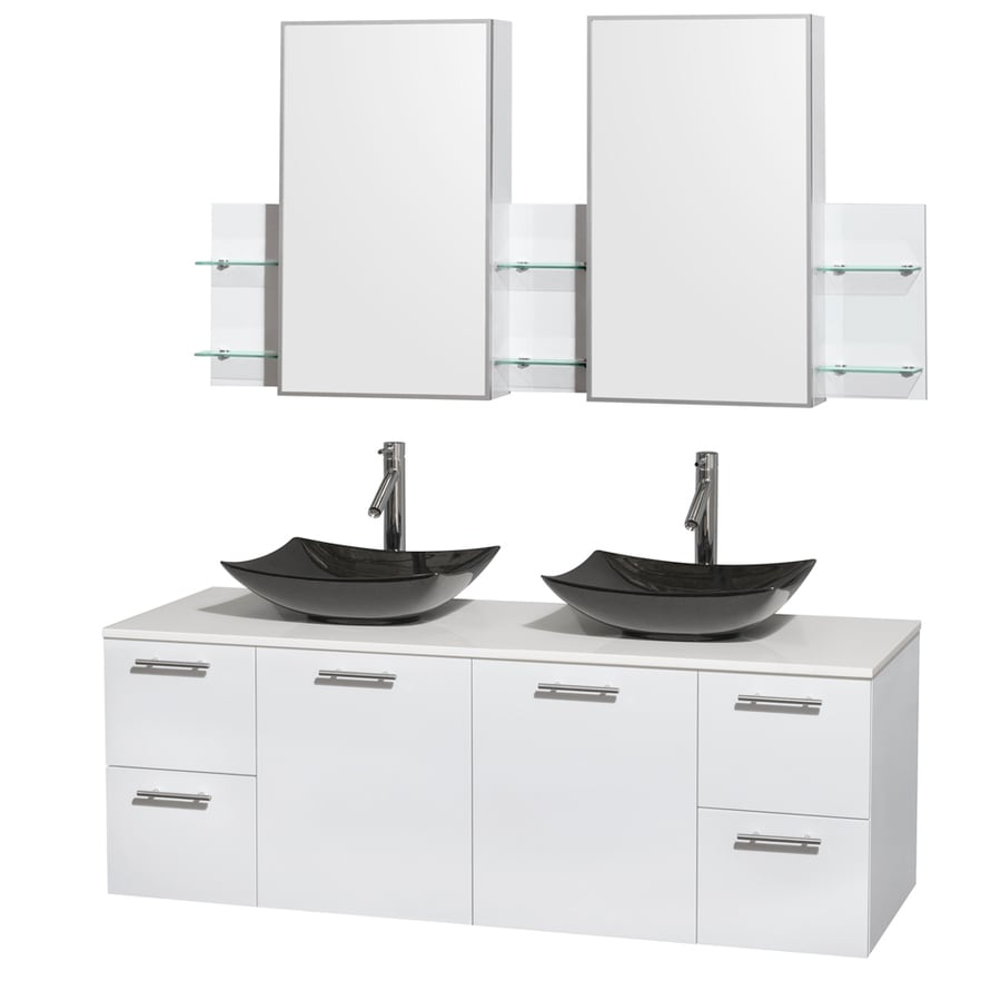 Wyndham Collection Amare Glossy White Double Vessel Sink Bathroom Vanity with Engineered Stone Top (Common: 60-in x 22-in; Actual: 60-in x 22.25-in)