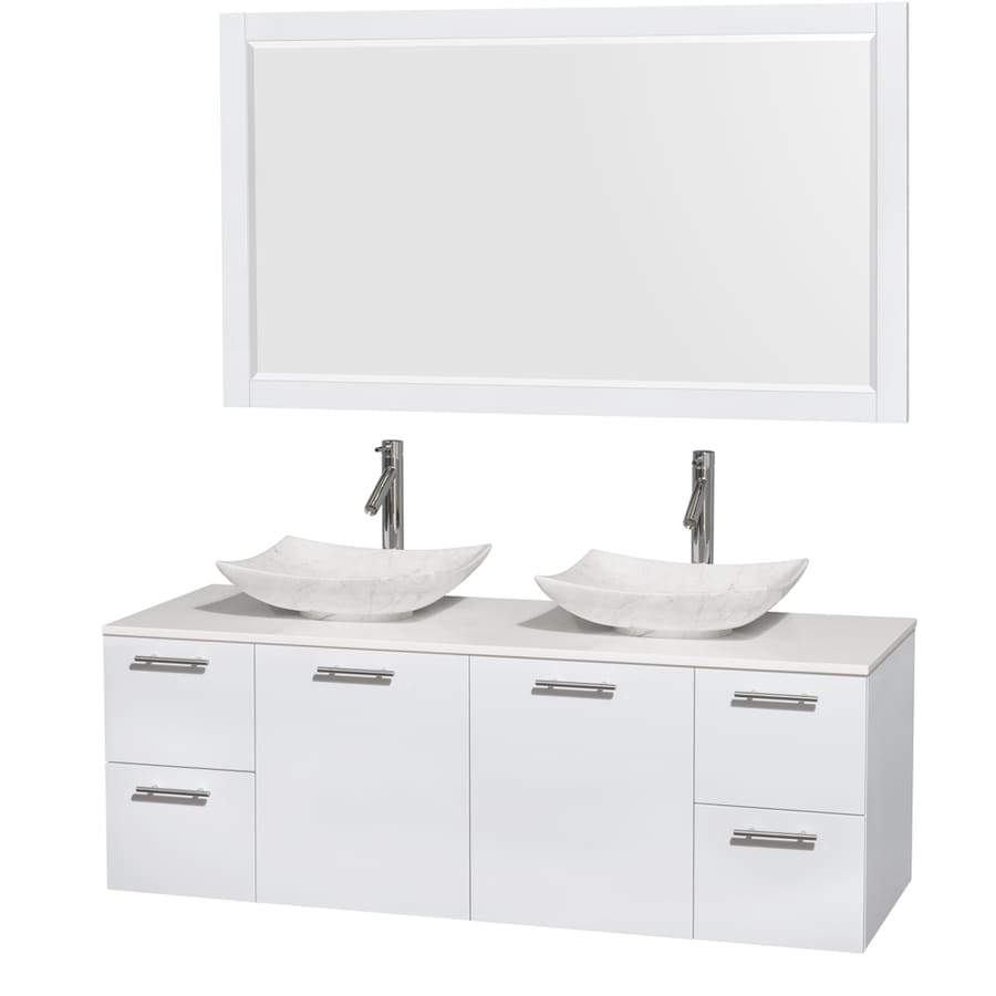 Wyndham Collection Amare Glossy White 60-in Vessel Double Sink Bathroom Vanity with Engineered Stone Top (Mirror Included)
