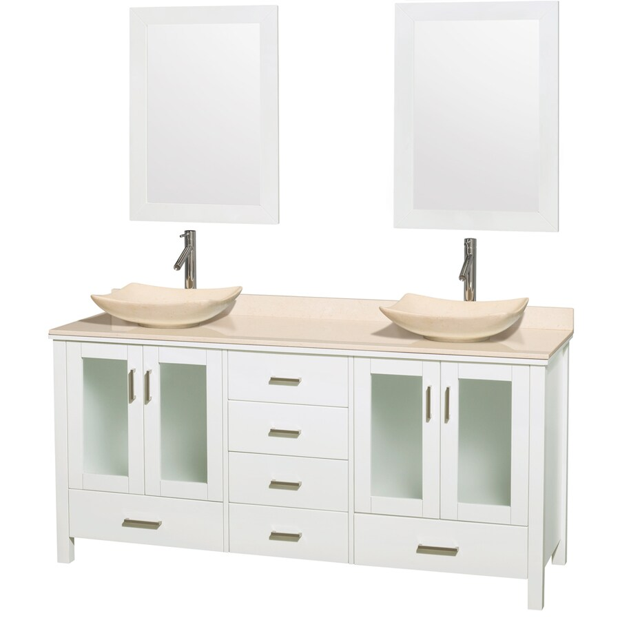 Wyndham Collection Lucy White Double Vessel Sink Bathroom Vanity with Natural Marble Top (Common: 72-in x 22.5-in; Actual: 72-in x 22.75-in)