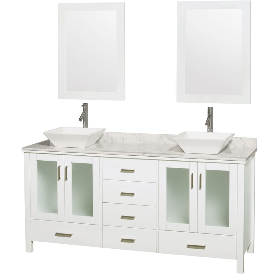 Wyndham Collection Lucy White Double Vessel Sink Bathroom Vanity with Natural Marble Top (Common: 72-in x 23-in; Actual: 72-in x 22.75-in)