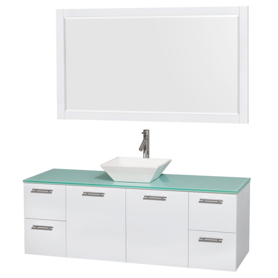 Wyndham Collection Amare White 60-in Vessel Single Sink Bathroom Vanity with Tempered Glass and Glass Top (Mirror Included)