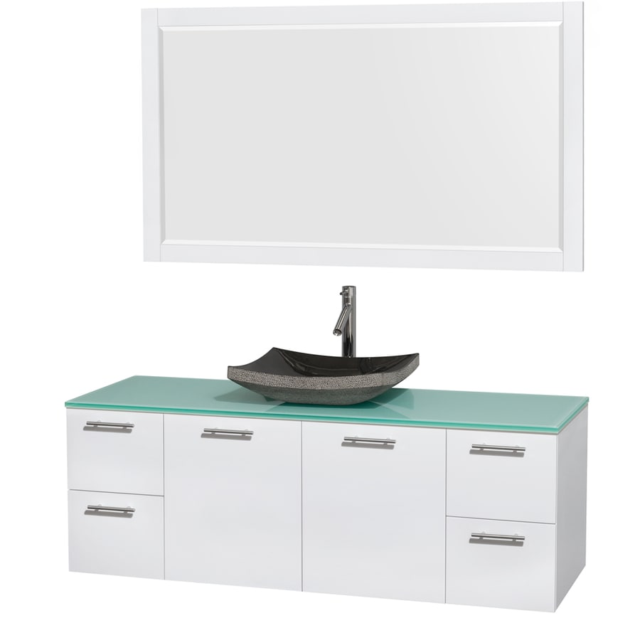 Wyndham Collection Amare Glossy White (Common: 60-in x 22-in) Vessel Single Sink Bathroom Vanity with Tempered Glass and Glass Top (Mirror Included) (Actual: 60-in x 22.25-in)