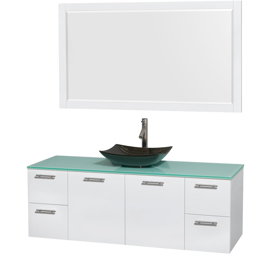 Wyndham Collection Amare Glossy White 60-in Vessel Single Sink Bathroom Vanity with Tempered Glass and Glass Top (Mirror Included)