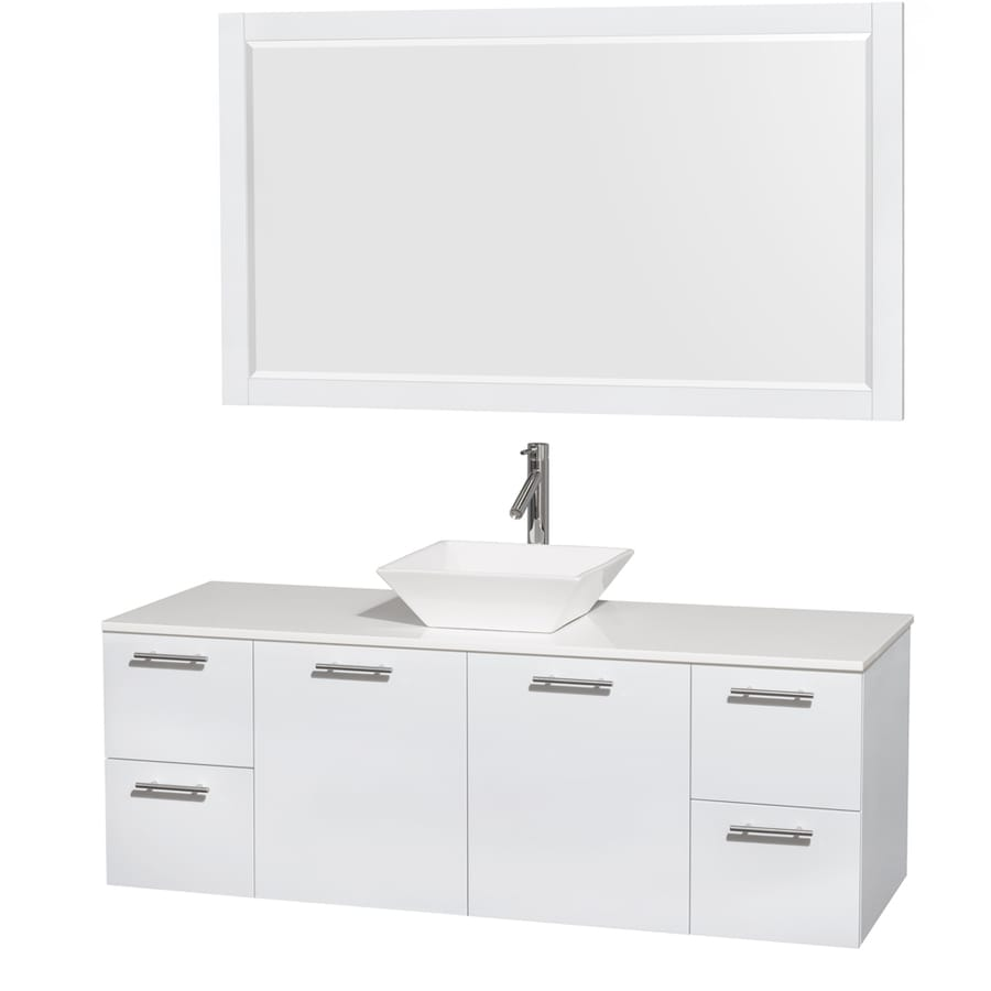 Wyndham Collection Amare Glossy White 60-in Vessel Single Sink Bathroom Vanity with Engineered Stone Top (Mirror Included)