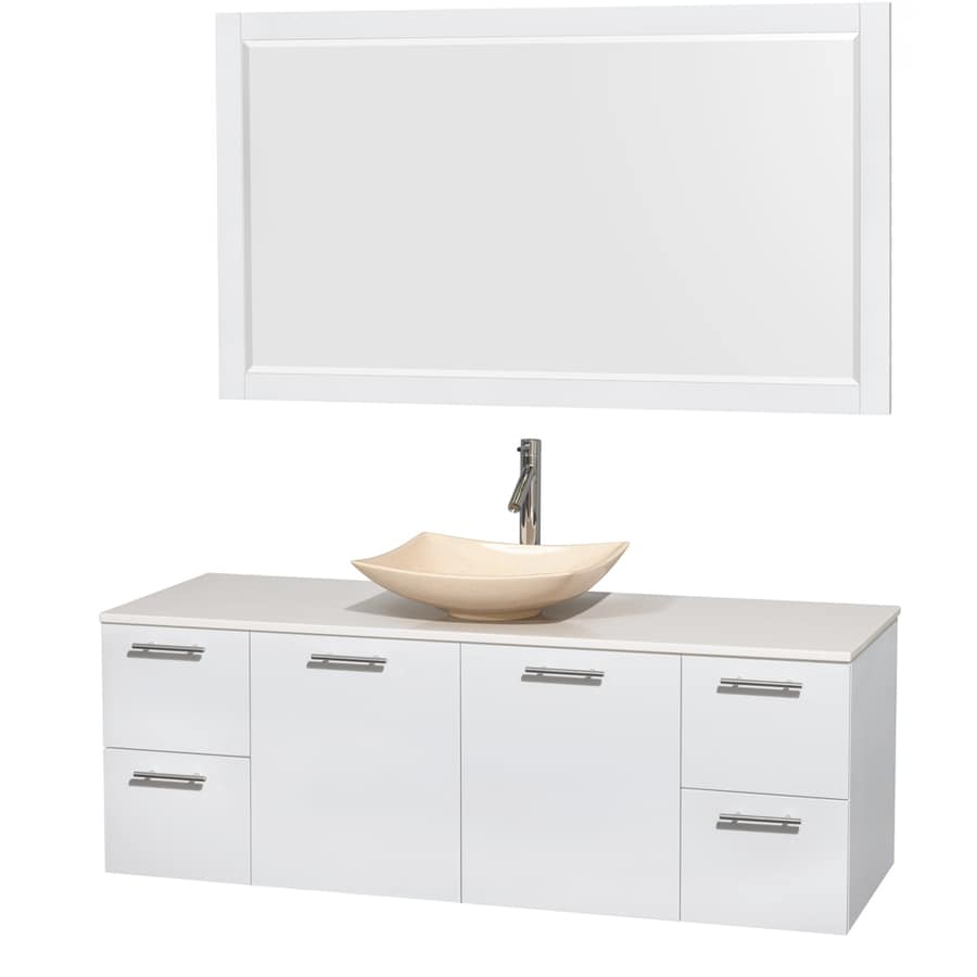 Wyndham Collection Amare Glossy White Single Vessel Sink Bathroom Vanity with Engineered Stone Top (Common: 60-in x 22-in; Actual: 60-in x 22.25-in)