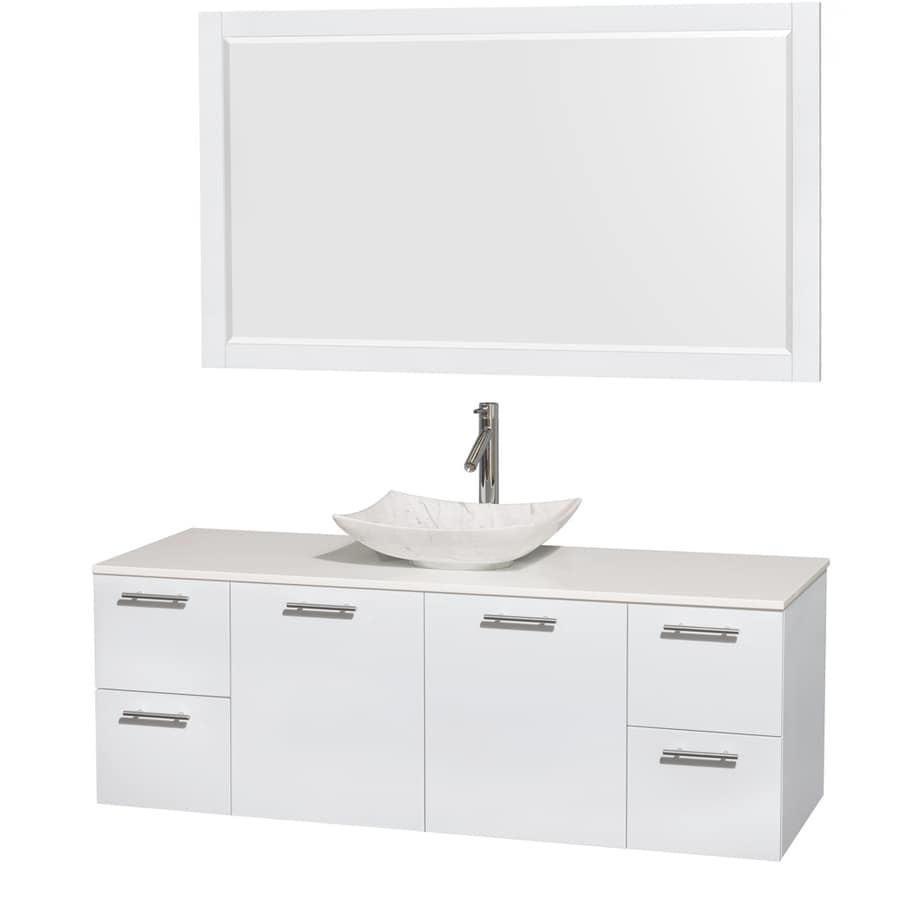 Wyndham Collection Amare Glossy White (Common: 60-in x 22-in) Vessel Single Sink Bathroom Vanity with Engineered Stone Top (Mirror Included) (Actual: 60-in x 22.25-in)