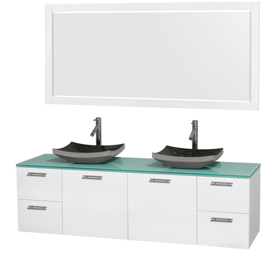 Wyndham Collection Amare Glossy White (Common: 72-in x 22-in) Vessel Double Sink Bathroom Vanity with Tempered Glass and Glass Top (Mirror Included) (Actual: 72-in x 22.25-in)
