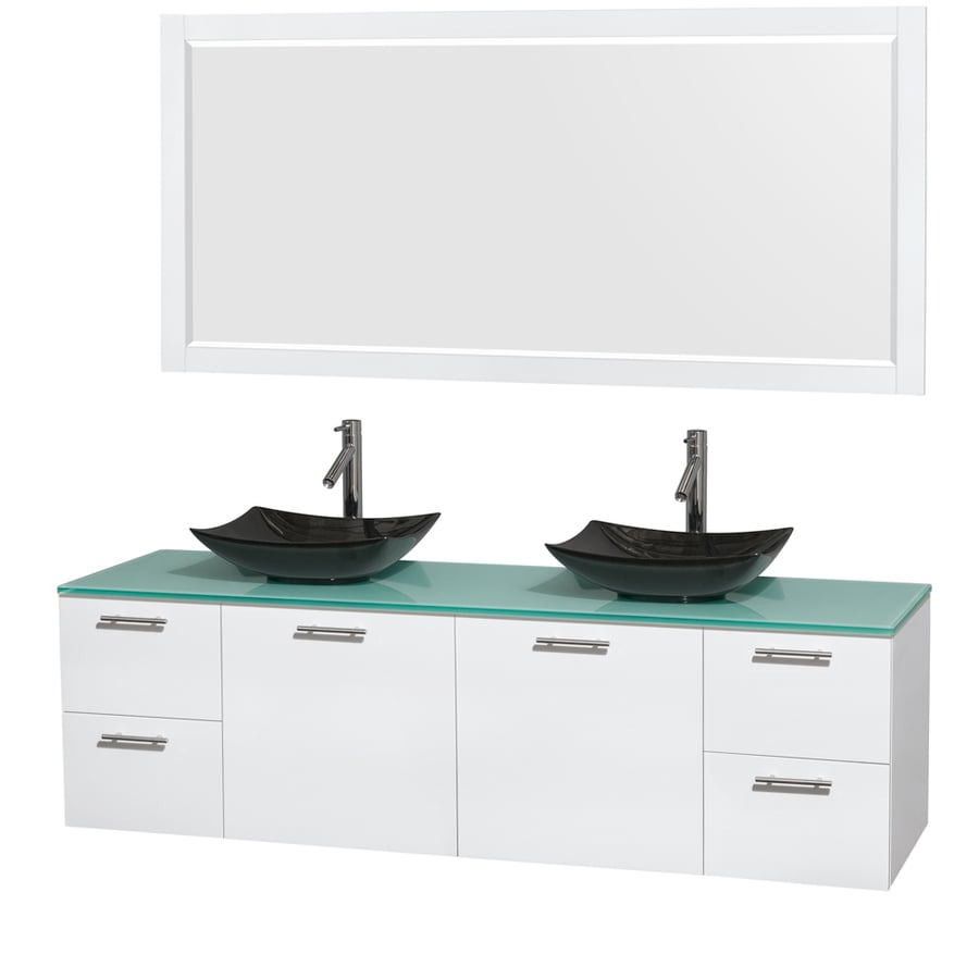 Wyndham Collection Amare Glossy White Double Vessel Sink Bathroom Vanity with Tempered Glass and Glass Top (Common: 72-in x 22-in; Actual: 72-in x 22.25-in)