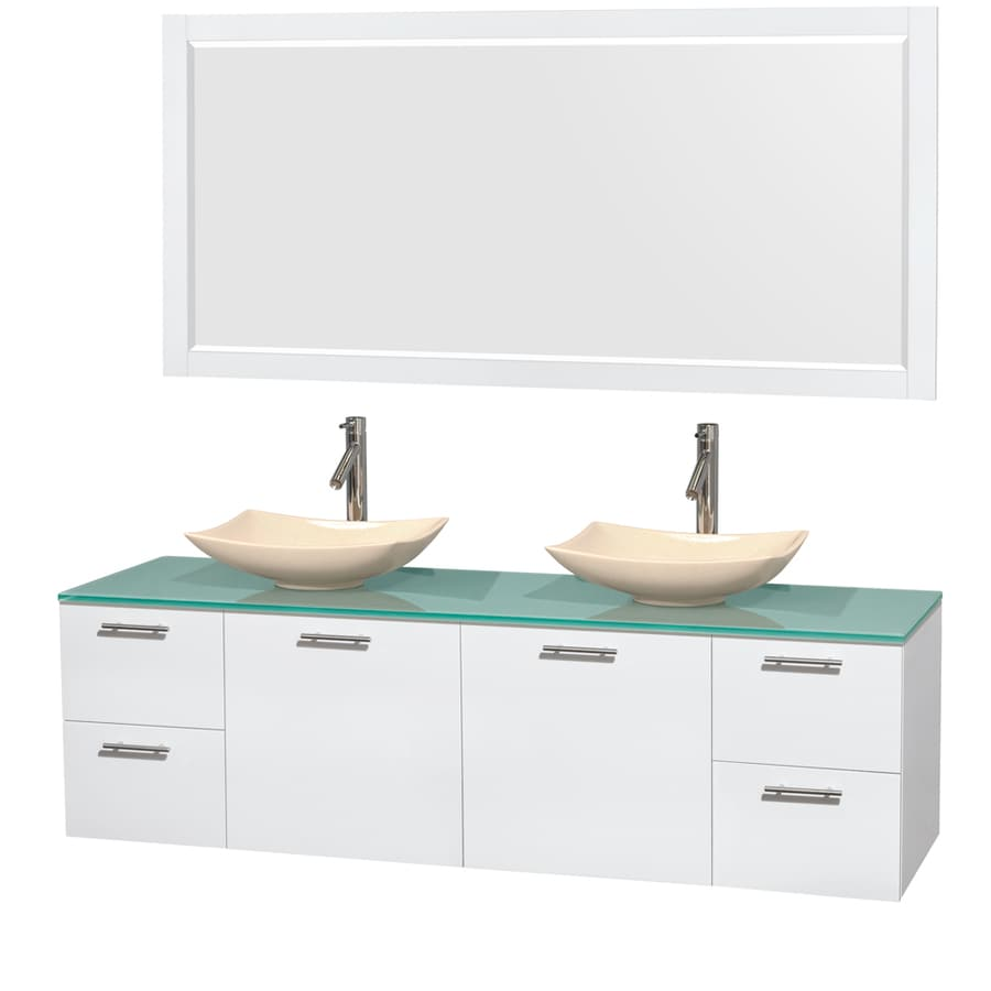 Wyndham Collection Amare Glossy White 72-in Vessel Double Sink Bathroom Vanity with Tempered Glass and Glass Top (Mirror Included)