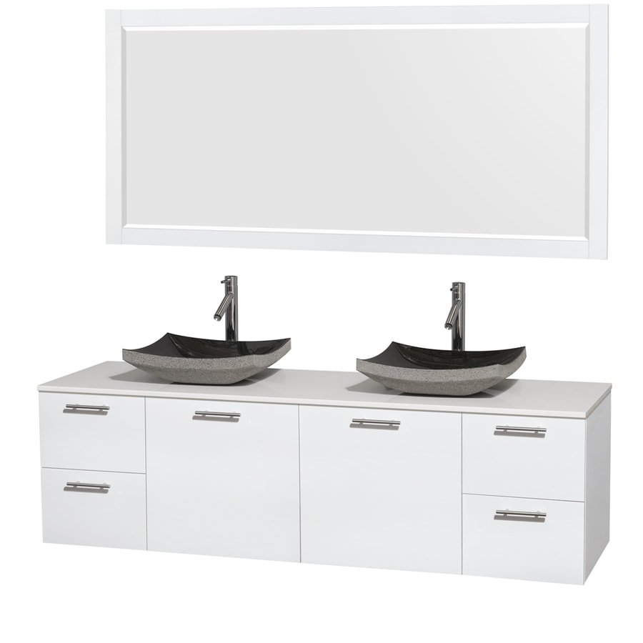Wyndham Collection Amare Glossy White Double Vessel Sink Bathroom Vanity with Engineered Stone Top (Common: 72-in x 22-in; Actual: 72-in x 22.25-in)