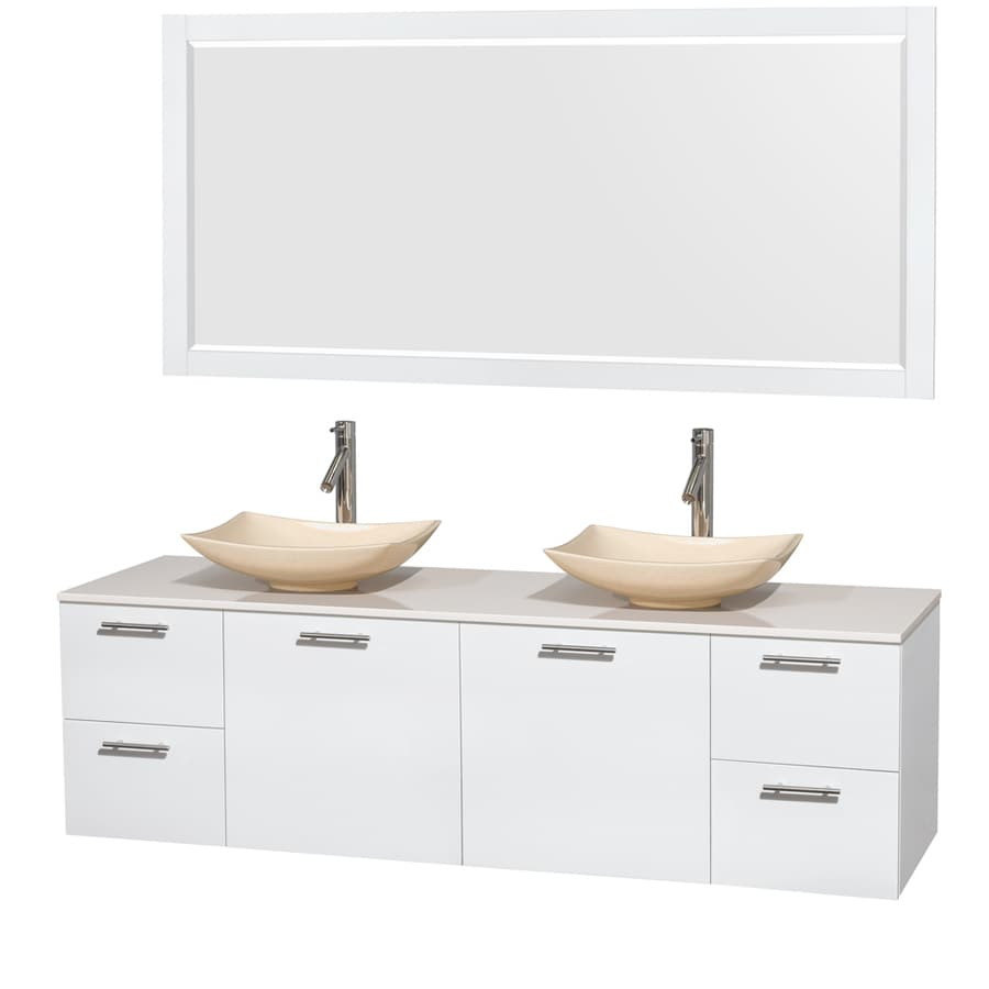 Wyndham Collection Amare Glossy White (Common: 72-in x 22-in) Vessel Double Sink Bathroom Vanity with Engineered Stone Top (Mirror Included) (Actual: 72-in x 22.25-in)