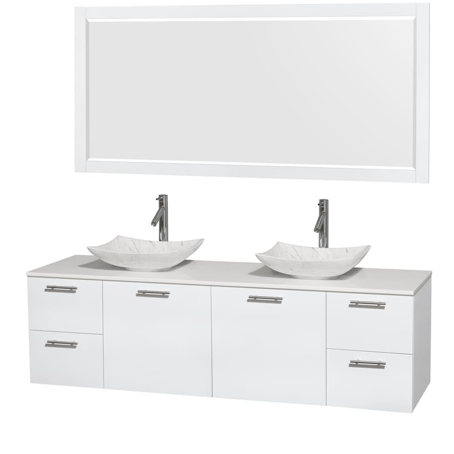 Wyndham Collection Amare Glossy White 72-in Vessel Double Sink Bathroom Vanity with Engineered Stone Top (Mirror Included)