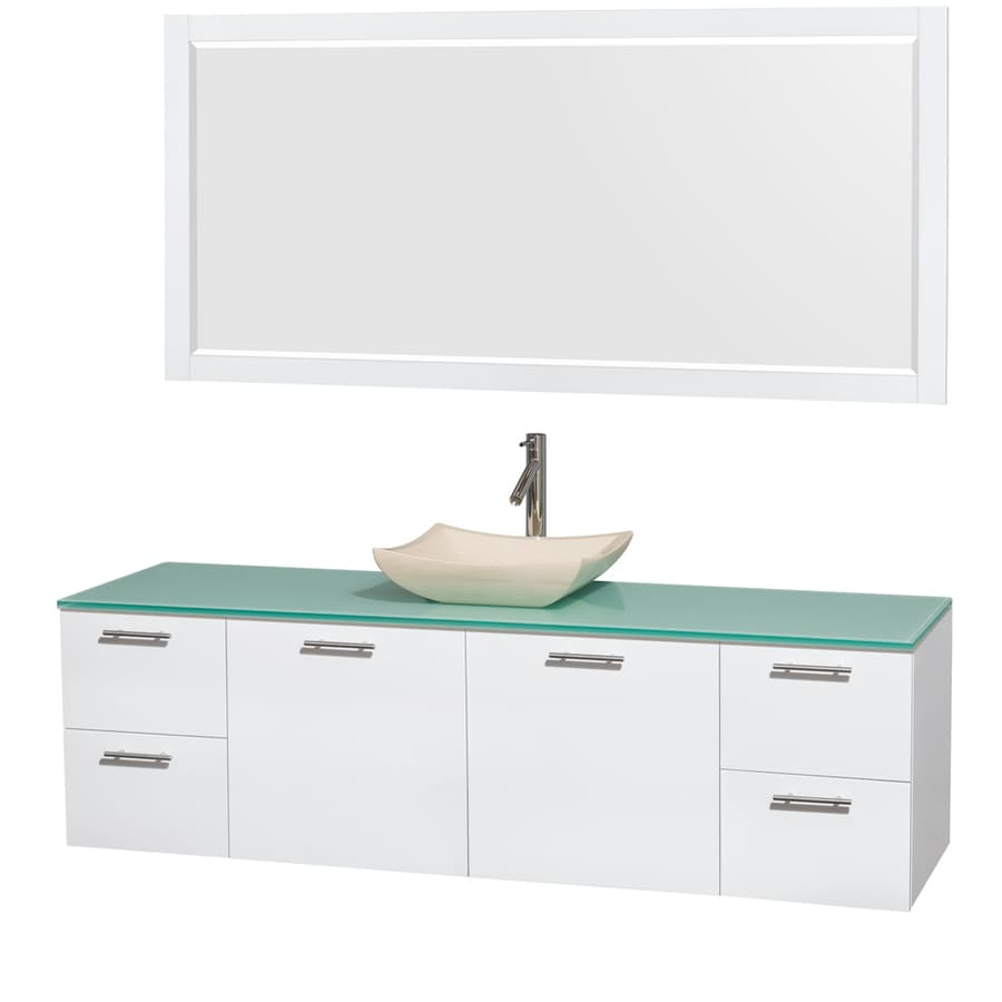 Wyndham Collection Amare Glossy White Single Vessel Sink Bathroom Vanity with Tempered Glass and Glass Top (Common: 72-in x 22-in; Actual: 72-in x 22.25-in)