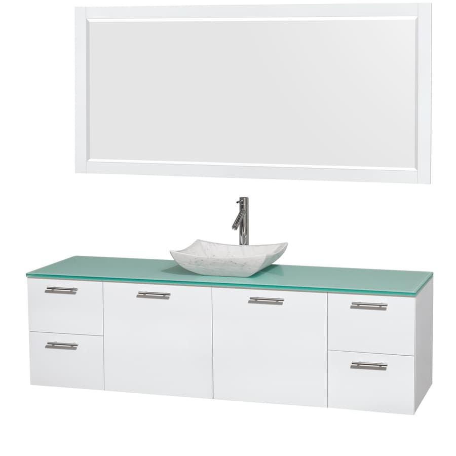Wyndham Collection Amare Glossy White 72-in Vessel Single Sink Bathroom Vanity with Tempered Glass and Glass Top (Mirror Included)