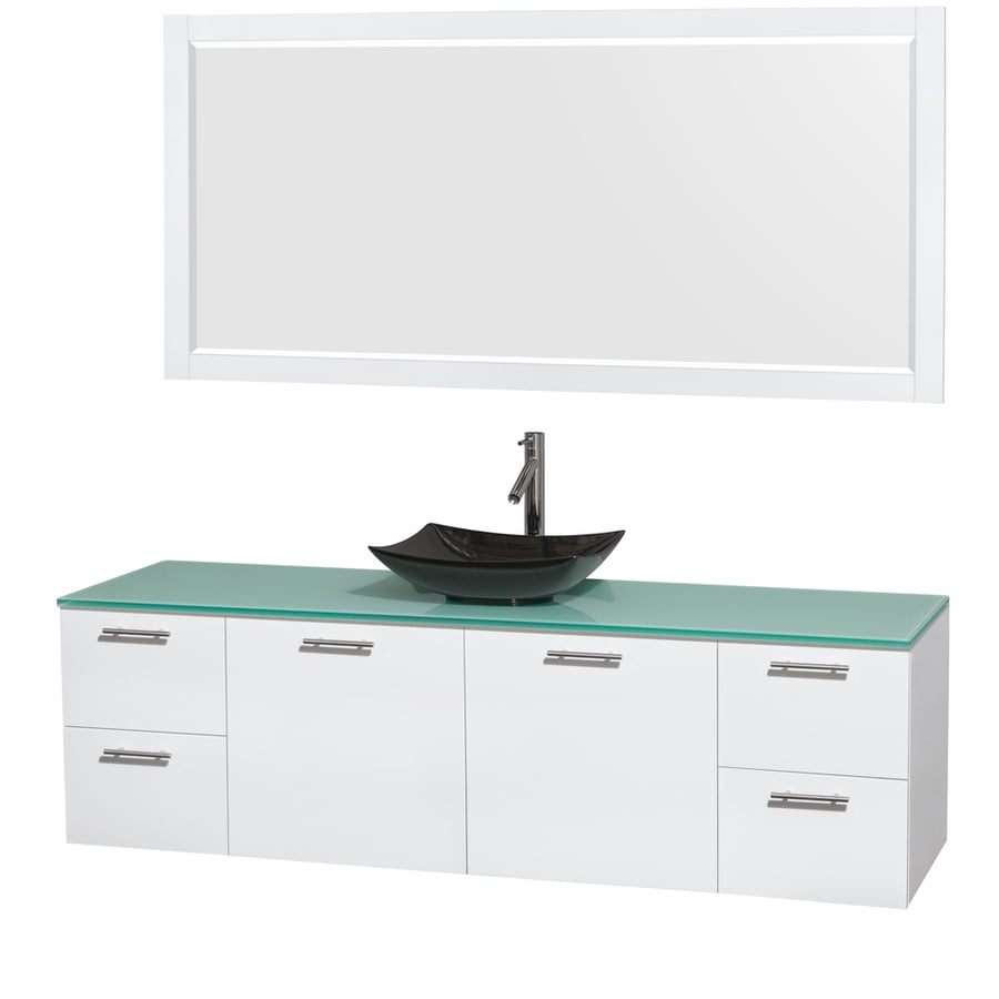 Wyndham Collection Amare Glossy White (Common: 72-in x 22-in) Vessel Single Sink Bathroom Vanity with Tempered Glass and Glass Top (Mirror Included) (Actual: 72-in x 22.25-in)