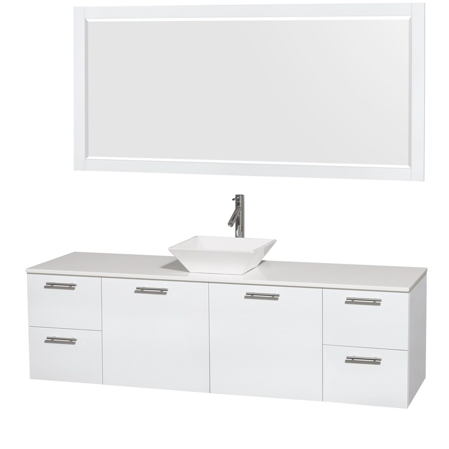 Wyndham Collection Amare Glossy White 72-in Vessel Single Sink Bathroom Vanity with Engineered Stone Top (Mirror Included)