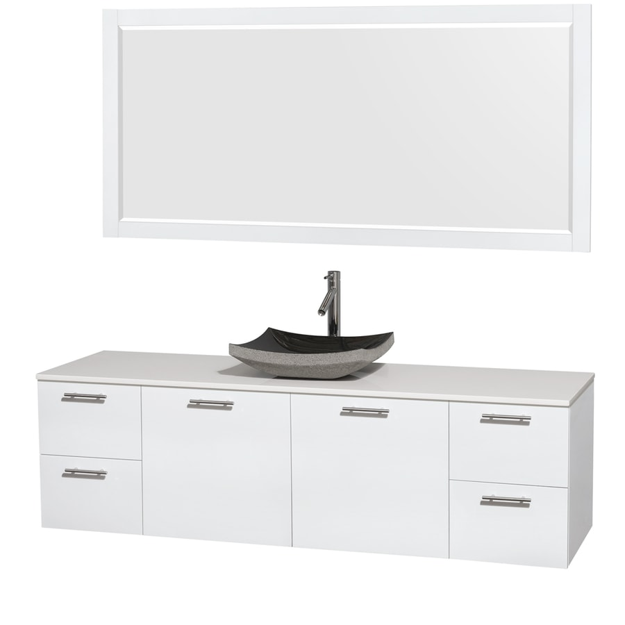 Wyndham Collection Amare Glossy White Single Vessel Sink Bathroom Vanity with Engineered Stone Top (Common: 72-in x 22-in; Actual: 72-in x 22.25-in)