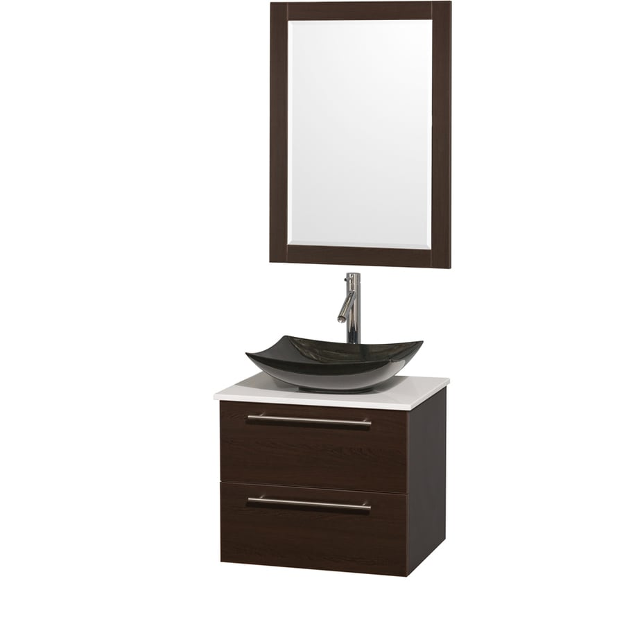 Wyndham Collection Amare Espresso (Common: 24-in x 20-in) Vessel Single Sink Bathroom Vanity with Engineered Stone Top (Mirror Included) (Actual: 24-in x 19.5-in)