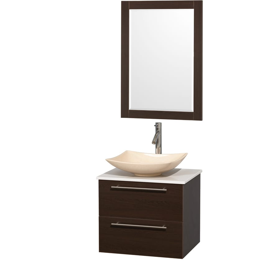 Wyndham Collection Amare Espresso Single Vessel Sink Bathroom Vanity with Engineered Stone Top (Common: 24-in x 20-in; Actual: 24-in x 19.5-in)