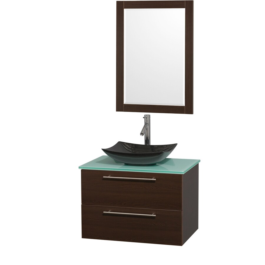 Wyndham Collection Amare Espresso 30-in Vessel Single Sink Bathroom Vanity with Tempered Glass and Glass Top (Mirror Included)