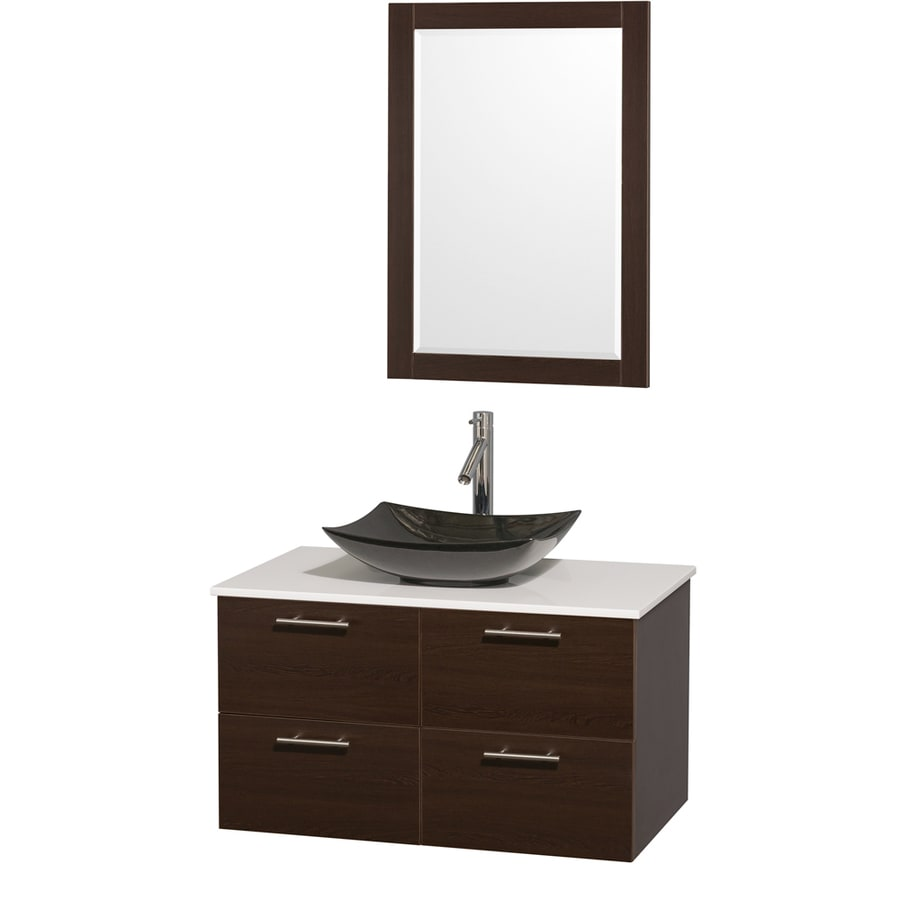 Wyndham Collection Amare Espresso 36-in Vessel Single Sink Bathroom Vanity with Engineered Stone Top (Mirror Included)