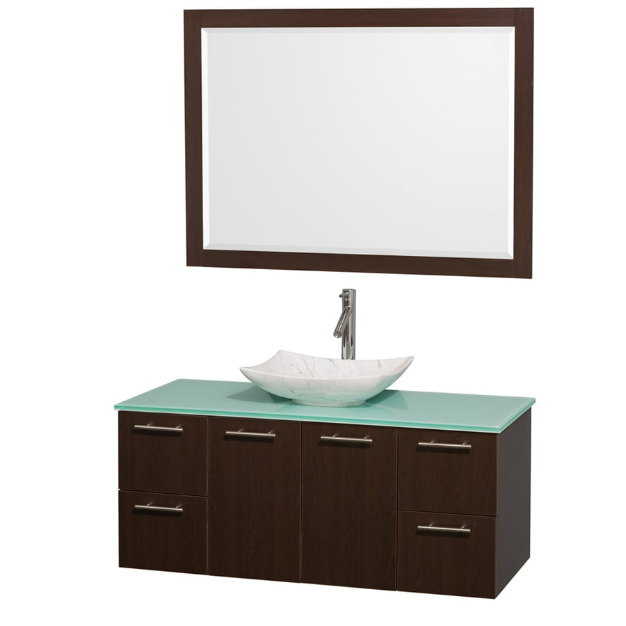 Wyndham Collection Amare Espresso (Common: 48-in x 22-in) Vessel Single Sink Bathroom Vanity with Tempered Glass and Glass Top (Mirror Included) (Actual: 48-in x 21.75-in)