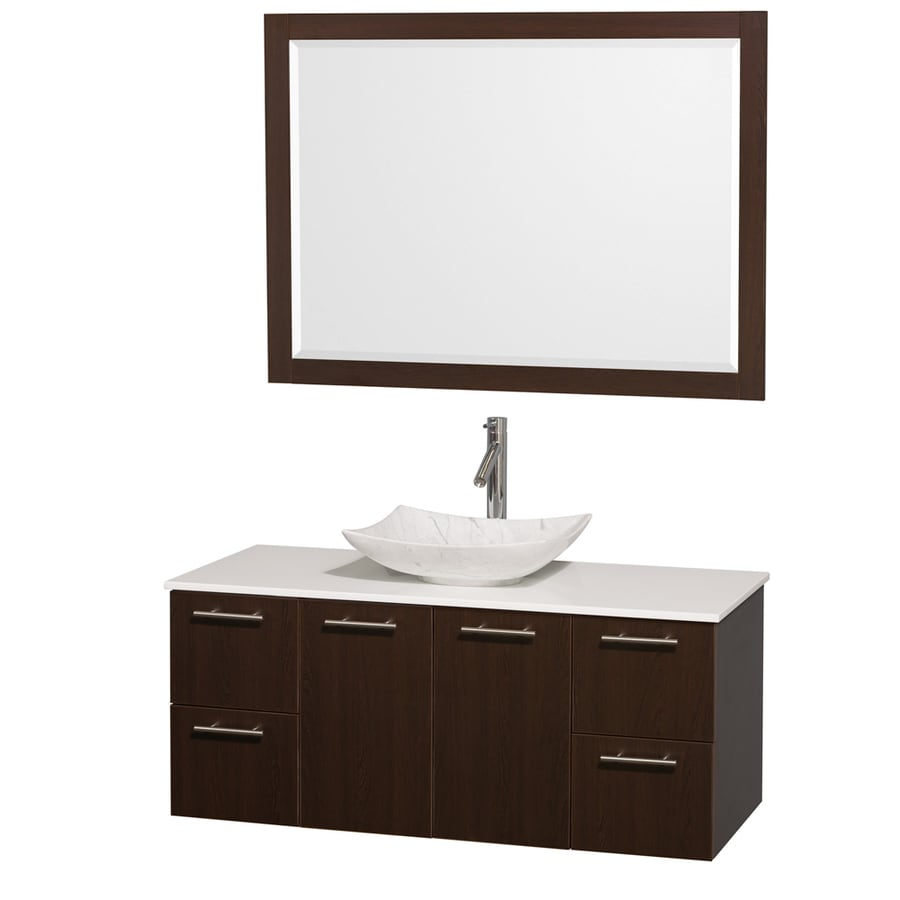 Wyndham Collection Amare Espresso (Common: 48-in x 22-in) Vessel Single Sink Bathroom Vanity with Engineered Stone Top (Mirror Included) (Actual: 48-in x 21.75-in)