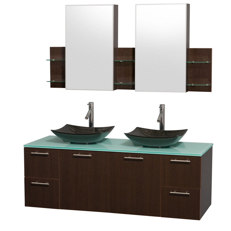 Wyndham Collection Amare Espresso Double Vessel Sink Bathroom Vanity with Tempered Glass and Glass Top (Common: 60-in x 22-in; Actual: 60-in x 22.25-in)