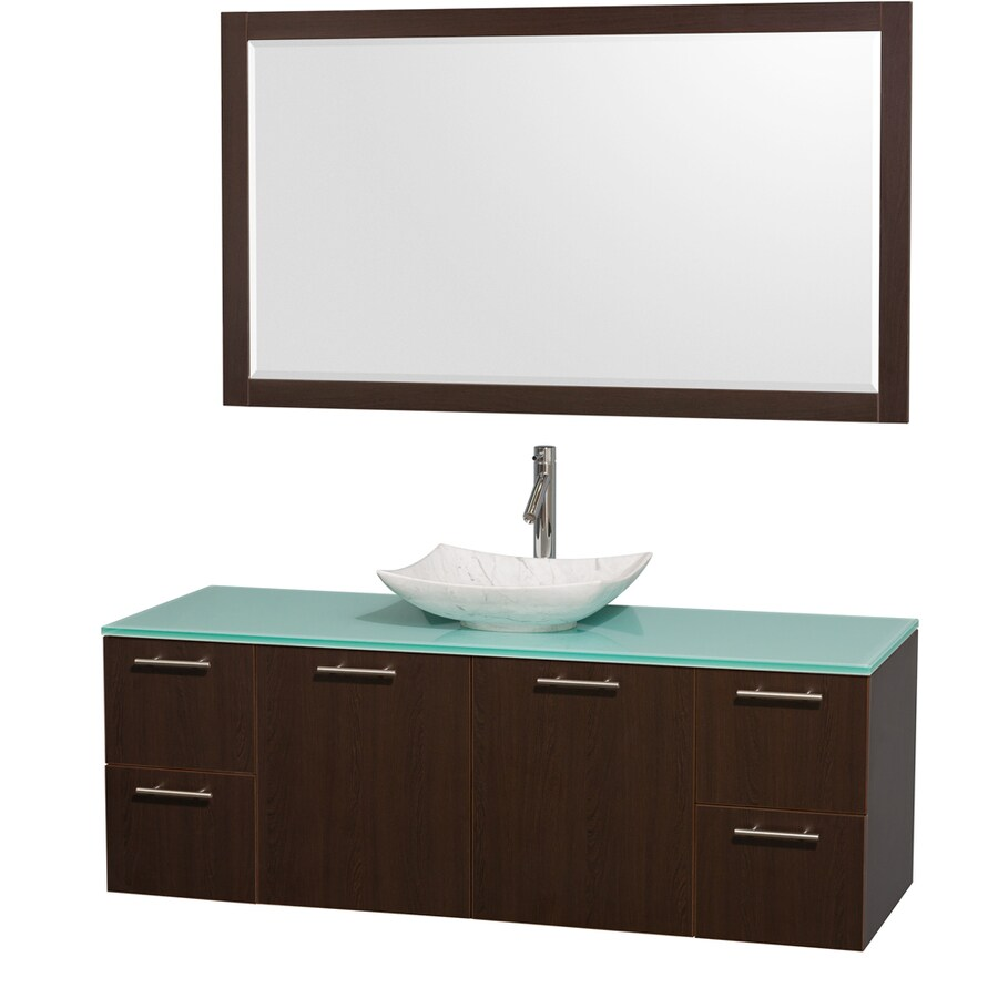 Wyndham Collection Amare Espresso (Common: 60-in x 22-in) Vessel Single Sink Bathroom Vanity with Tempered Glass and Glass Top (Mirror Included) (Actual: 60-in x 22.25-in)