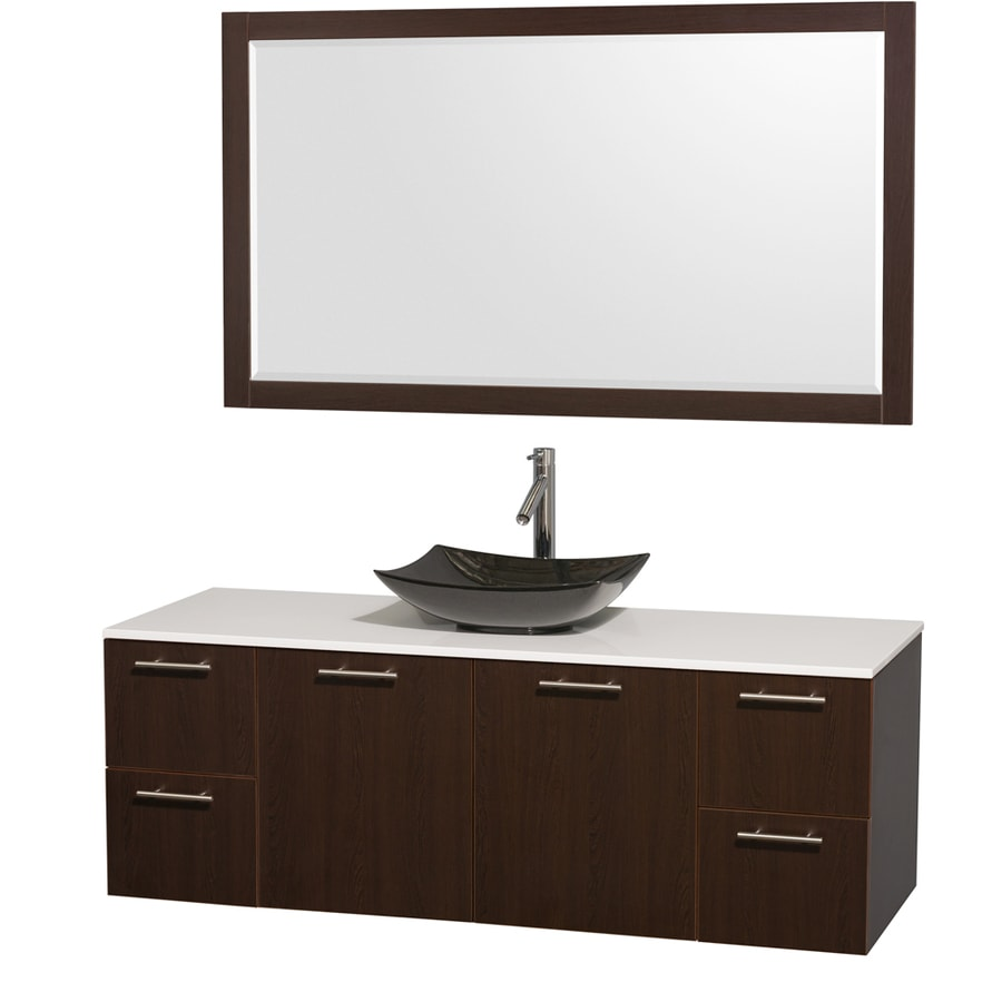 Wyndham Collection Amare Espresso (Common: 60-in x 22-in) Vessel Single Sink Bathroom Vanity with Engineered Stone Top (Mirror Included) (Actual: 60-in x 22.25-in)